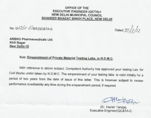 Letter of empanelment by NDMC as a private material testing lab