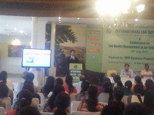 "Dr. Saurabh Arora presenting on ""Quality Control in Laboratories"""